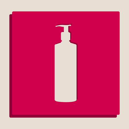 Gel, Foam Or Liquid Soap. Dispenser Pump Plastic Bottle silhouette. Vector. Grayscale version of Popart-style icon.