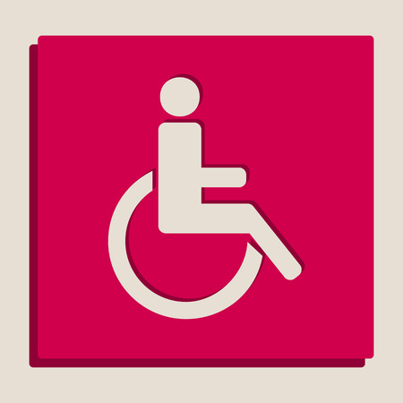 Disabled sign illustration. Vector. Grayscale version of Popart-style icon. Illustration