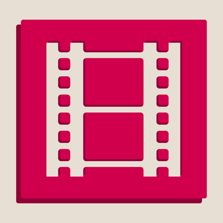 Reel of film sign. Vector. Grayscale version of Popart-style icon. Illustration