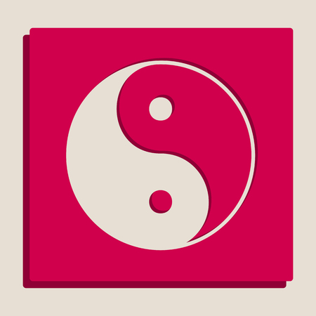 Ying yang symbol of harmony and balance. Vector. Grayscale version of Popart-style icon.