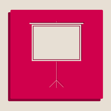 progressing: Blank Projection screen. Vector. Grayscale version of Popart-style icon.