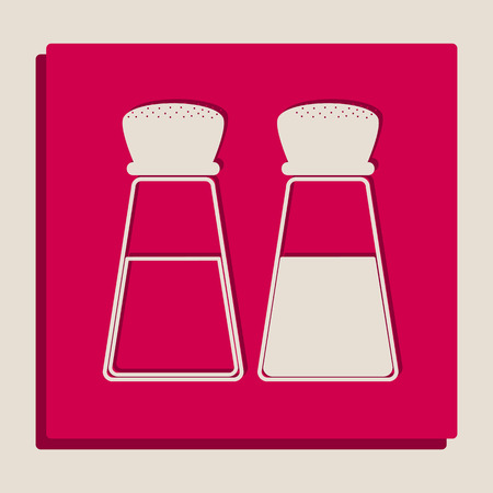 Salt and pepper sign. Vector. Grayscale version of Popart-style icon. Illustration