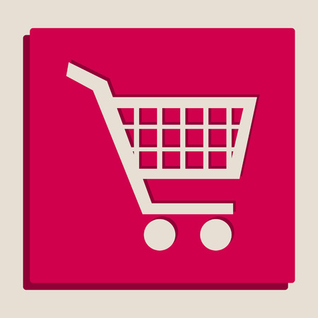 emarketing: Shopping cart sign. Vector. Grayscale version of Popart-style icon.