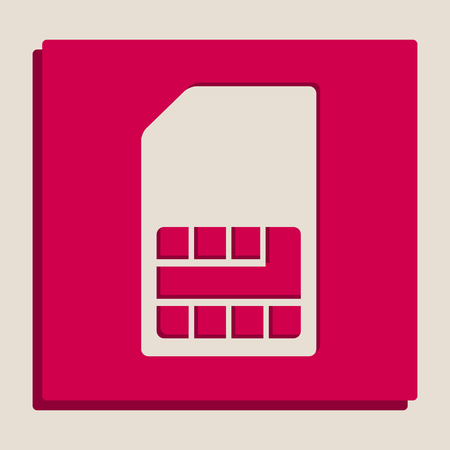 Sim card sign. Vector. Grayscale version of Popart-style icon.