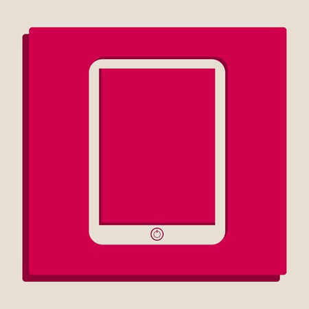 Computer tablet sign. Vector. Grayscale version of Popart-style icon.