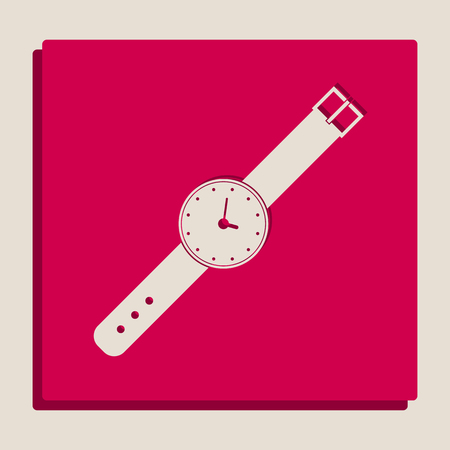 Watch sign illustration. Vector. Grayscale version of Popart-style icon.