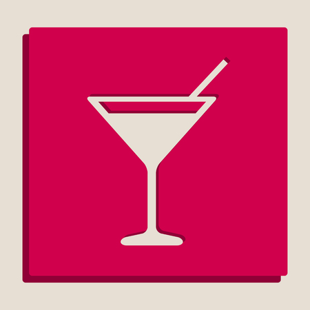 nighttime: Cocktail sign illustration. Vector. Grayscale version of Popart-style icon.