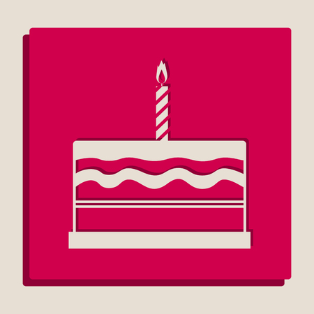 Birthday cake sign. Vector. Grayscale version of Popart-style icon.
