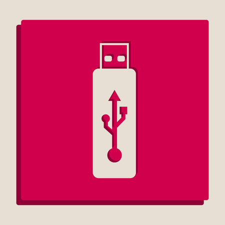 Vector USB flash drive sign. Vector. Grayscale version of Popart-style icon.