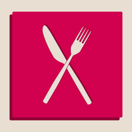 Fork and Knife sign. Vector. Grayscale version of Popart-style icon.