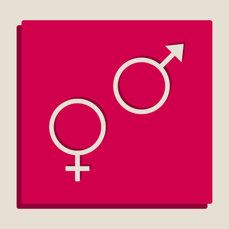 セックス シンボル サイン。ベクトル。Popart スタイル アイコンのグレースケール バージョンです。