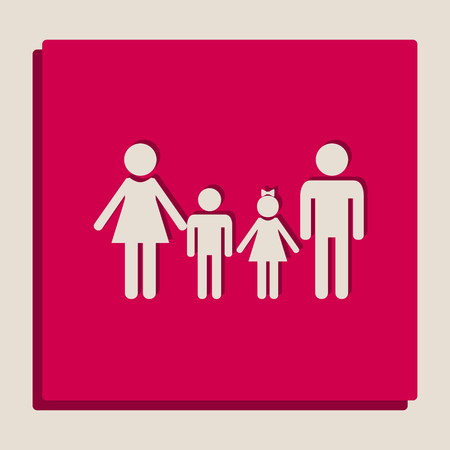 Family sign. Vector. Grayscale version of Popart-style icon. Illustration