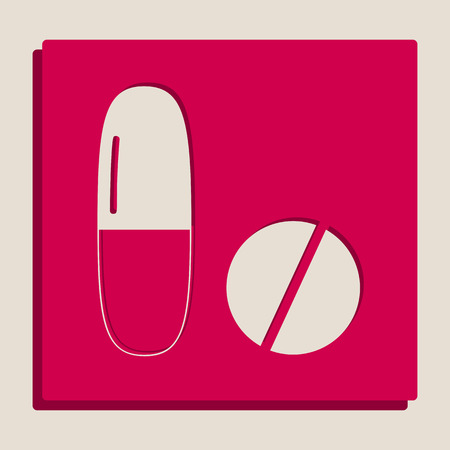 Medical pills sign. Vector. Grayscale version of Popart-style icon.
