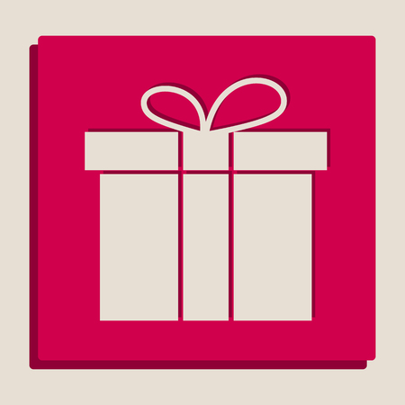 festivity: Gift box sign. Vector. Grayscale version of Popart-style icon.