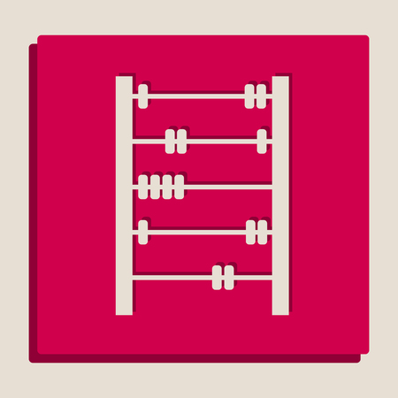 Retro abacus sign. Vector. Grayscale version of Popart-style icon. Illustration