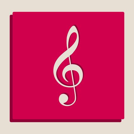 Muziek viooltje teken. G-sleutel. Treble clef. Vector. Grijswaarden versie van Popart-stijl icoon. Stock Illustratie