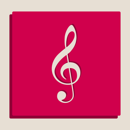 Music violin clef sign. G-clef. Treble clef. Vector. Grayscale version of Popart-style icon. Illustration