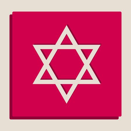 Shield Magen David Star. Symbol of Israel. Vector. Grayscale version of Popart-style icon. Illustration