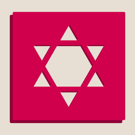 Shield Magen David Star Inverse. Symbol of Israel inverted. Vector. Grayscale version of Popart-style icon. Illustration