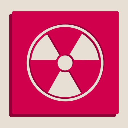 polluted: Radiation Round sign. Vector. Grayscale version of Popart-style icon. Illustration