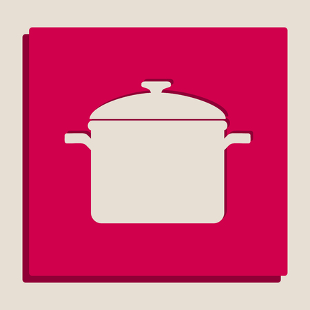 casserole: Cooking pan sign. Vector. Grayscale version of Popart-style icon. Illustration