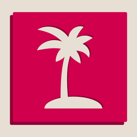 Coconut palm tree sign. Vector. Grayscale version of Popart-style icon. Illustration