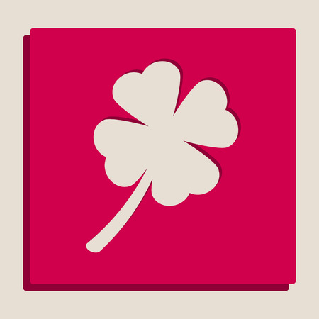 lucky clover: Leaf clover sign. Vector. Grayscale version of Popart-style icon.