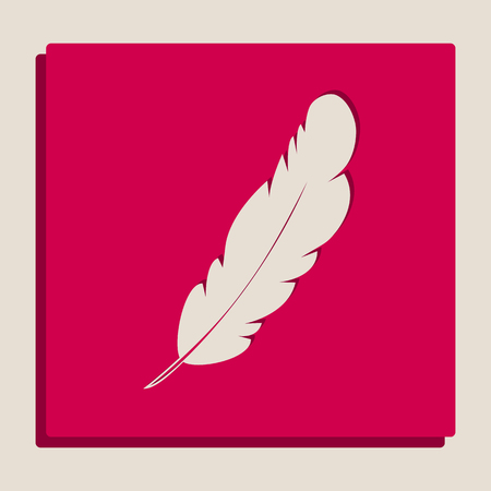 Feather sign illustration. Vector. Grayscale version of Popart-style icon.