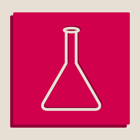 Conical Flask sign. Laboratory glass sign. Vector. Grayscale version of Popart-style icon. Illustration