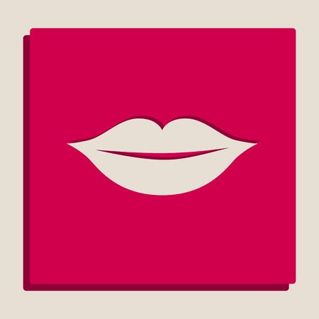 Lips sign illustration. Vector. Grayscale version of Popart-style icon. Illustration
