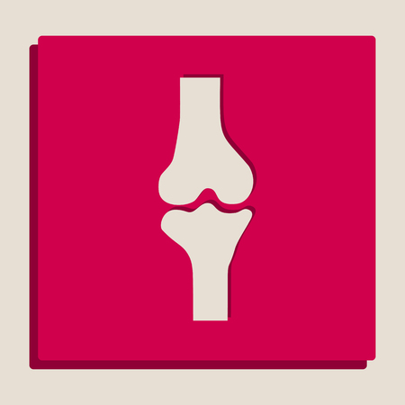 Knee joint sign. Vector. Grayscale version of Popart-style icon.