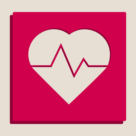 emergency cart: Heartbeat sign illustration. Vector. Grayscale version of Popart-style icon. Illustration