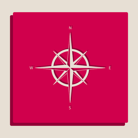 Wind rose sign. Vector. Grayscale version of Popart-style icon.
