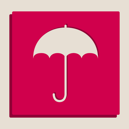 Umbrella sign icon. Rain protection symbol. Flat design style. Vector. Grayscale version of Popart-style icon.