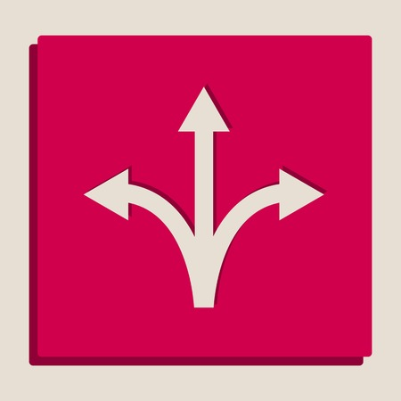 Three-way direction arrow sign. Vector. Grayscale version of Popart-style icon. Illustration