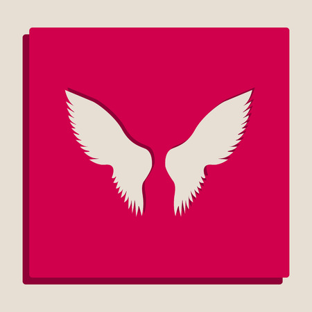 Wings sign illustration. Vector. Grayscale version of Popart-style icon.