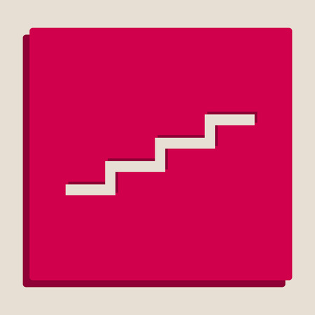 Stair up sign. Vector. Grayscale version of Popart-style icon. Illustration
