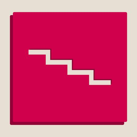 Stair down sign. Vector. Grayscale version of Popart-style icon. Stock Vector - 80129718