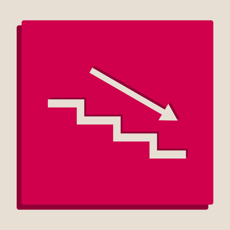 Stair down with arrow. Vector. Grayscale version of Popart-style icon. Illustration