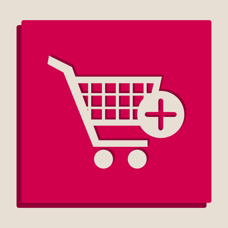 Shopping Cart with add Mark sign. Vector. Grayscale version of Popart-style icon.