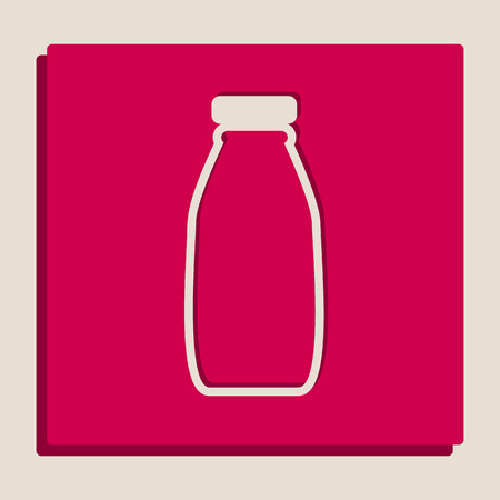 Milk bottle sign. Vector. Grayscale version of Popart-style icon. Illustration