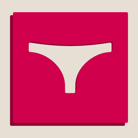 women s clothes: Womens panties sign. Vector. Grayscale version of Popart-style icon. Illustration