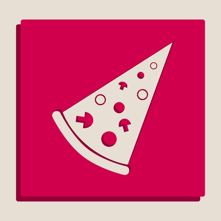 supper: Pizza simple sign. Vector. Grayscale version of Popart-style icon.