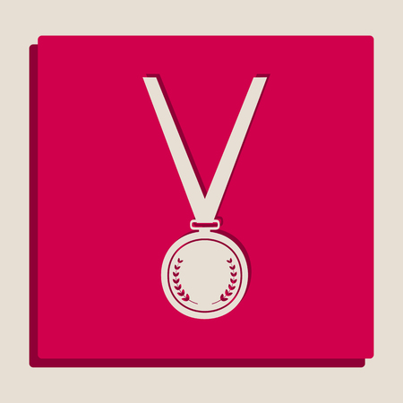 Medal simple sign. Vector. Grayscale version of Popart-style icon. Illustration