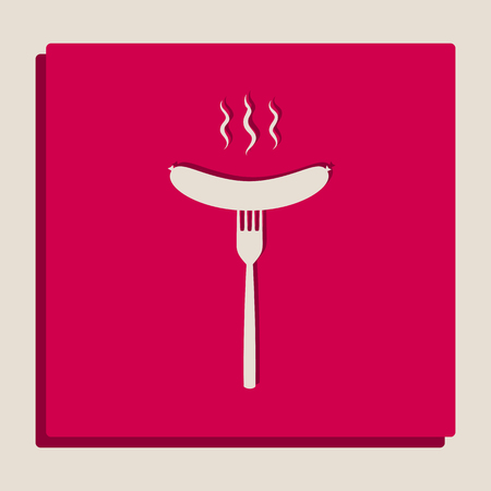 Sausage on fork sign. Vector. Grayscale version of Popart-style icon. Illustration