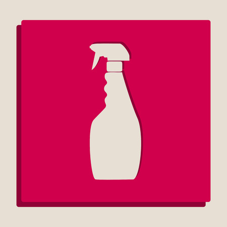 Plastic bottle for cleaning. Vector. Grayscale version of Popart-style icon. Illustration