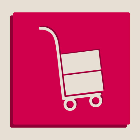 Hand truck sign. Vector. Grayscale version of Popart-style icon.