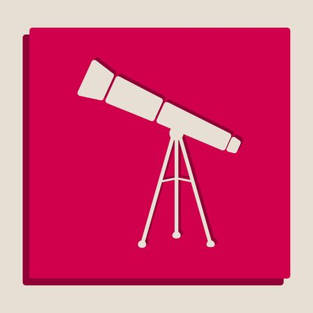 Telescope simple sign. Vector. Grayscale version of Popart-style icon.