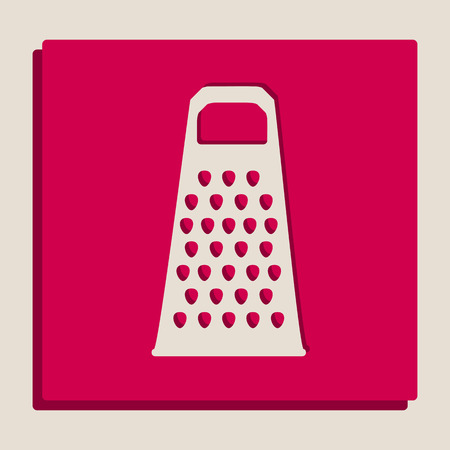 Cheese grater sign. Vector. Grayscale version of Popart-style icon.
