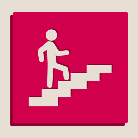 Man on Stairs going up. Vector. Grayscale version of Popart-style icon. Illustration